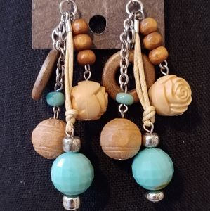 Turquoise, Wood and carved earrings